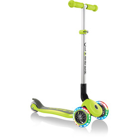 Globber Primo Foldable Lights Scooter with battery-free LED wheels Kids, green